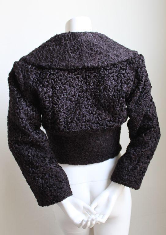 Black AZZEDINE ALAIA dark brown 'Astrakhan' fur jacket For Sale