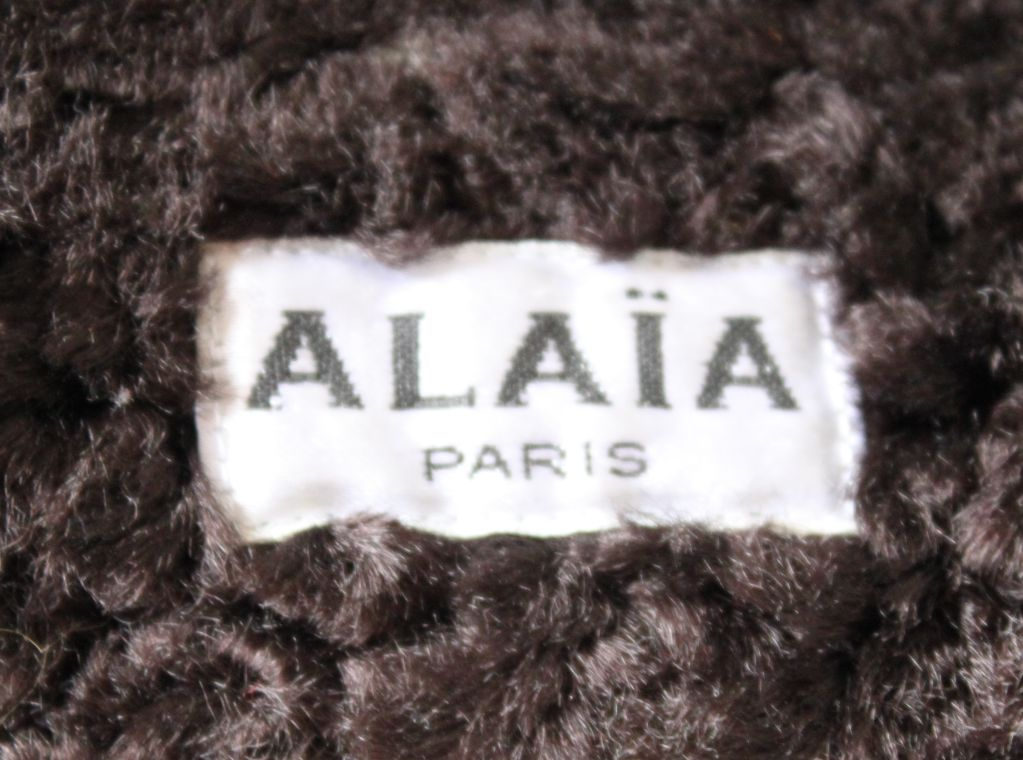 AZZEDINE ALAIA dark brown 'Astrakhan' fur jacket In Fair Condition For Sale In San Fransisco, CA