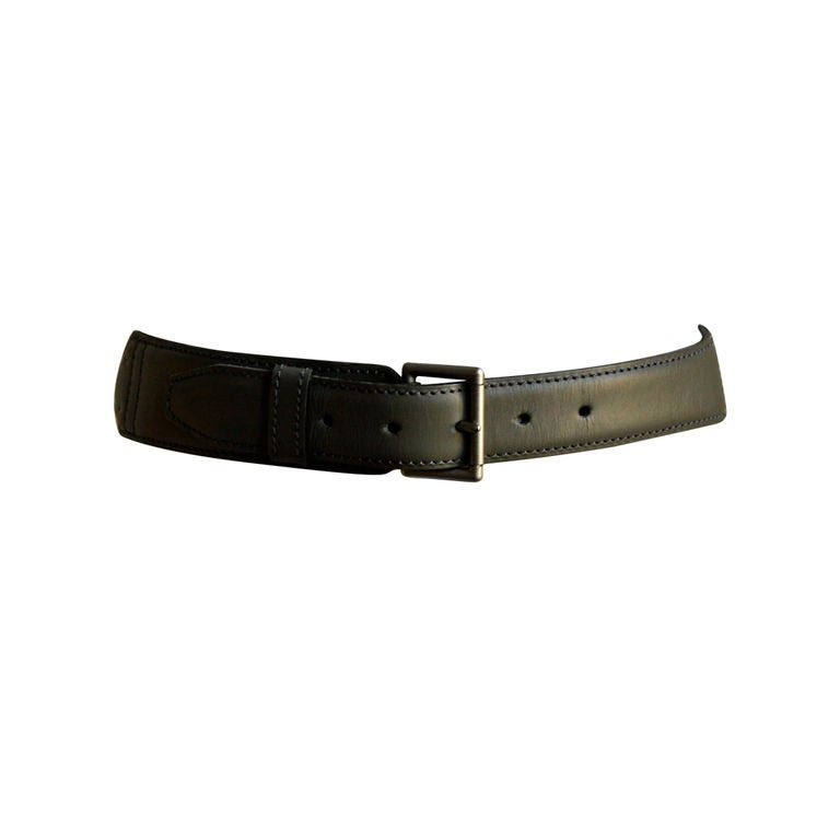 azzedine alaia moss green leather belt size 65 at 1stdibs