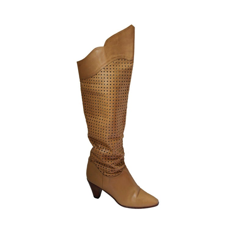 9ef0a4613dc CHARLES JOURDAN tan over the knee boots with perferations - 6.5 For Sale