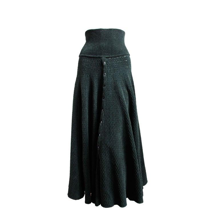 AZZEDINE ALAIA forest green chenille maxi skirt 1