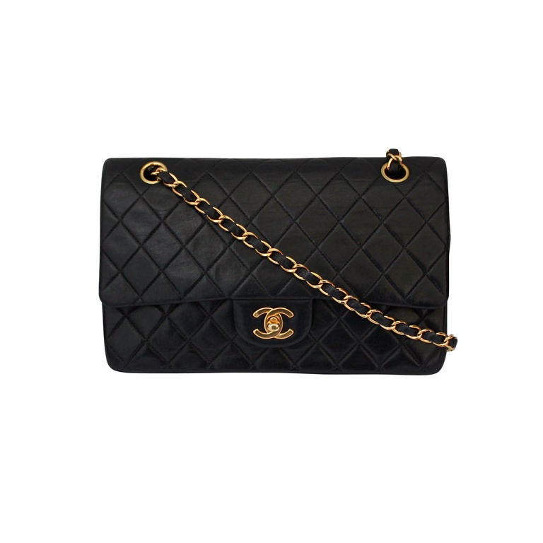 CHANEL black quilted leather flap bag with gold hardware 1