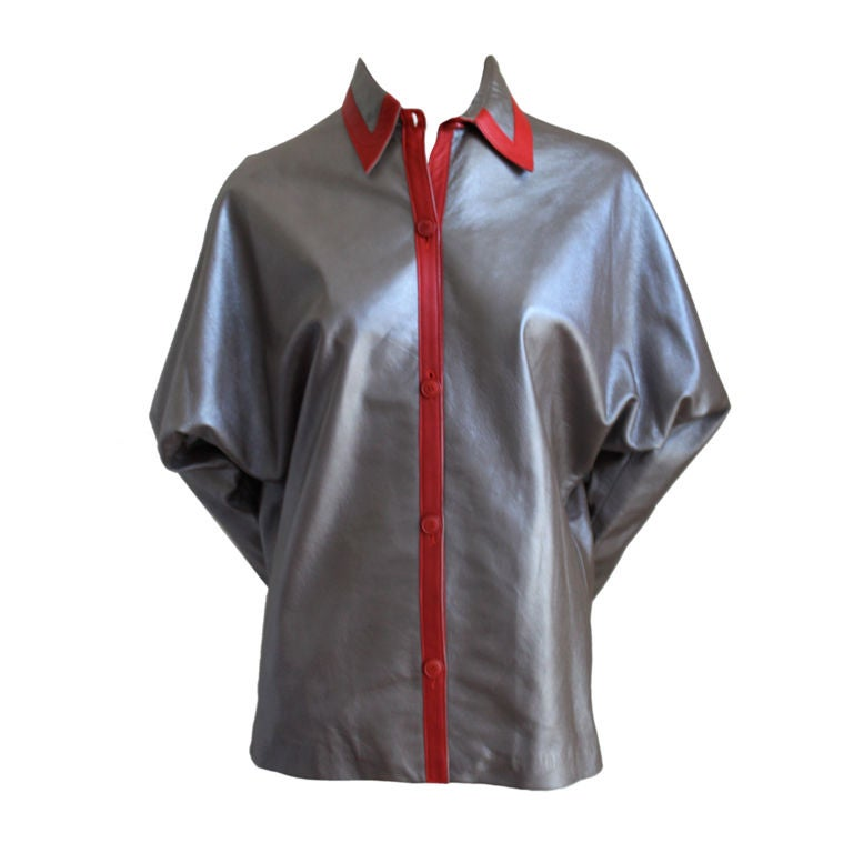 Lanvin haute couture bronze leather jacket with red trim for Haute couture jacket