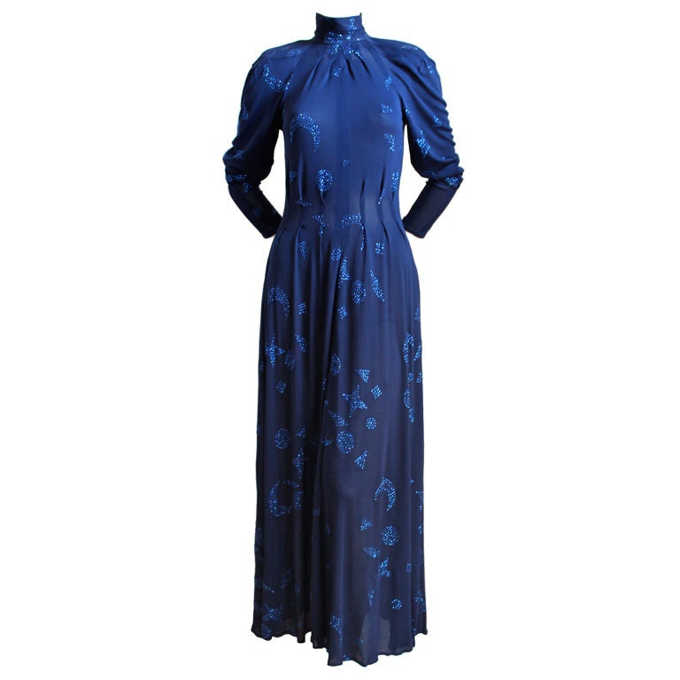 1970's JEAN MUIR blue jersey dress with stars and moons 1