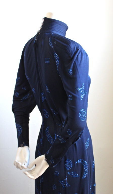 1970's JEAN MUIR blue jersey dress with stars and moons 3