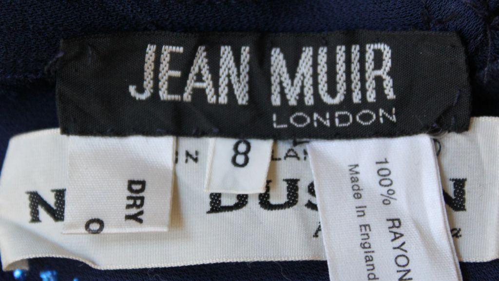 1970's JEAN MUIR blue jersey dress with stars and moons 4