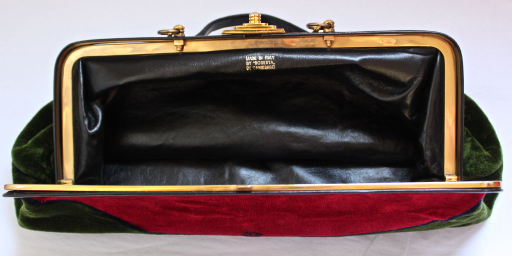 Vibrant Velvet Oversized Doctor S Bag With Leather Trim And Gilt Hardware From Roberta Di Camerino Dating