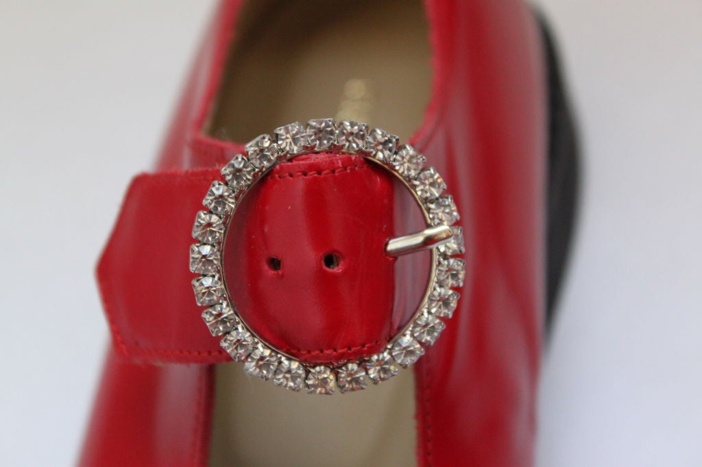 unworn COMME DES GARCONS red shoes with rhinestone buckles 3