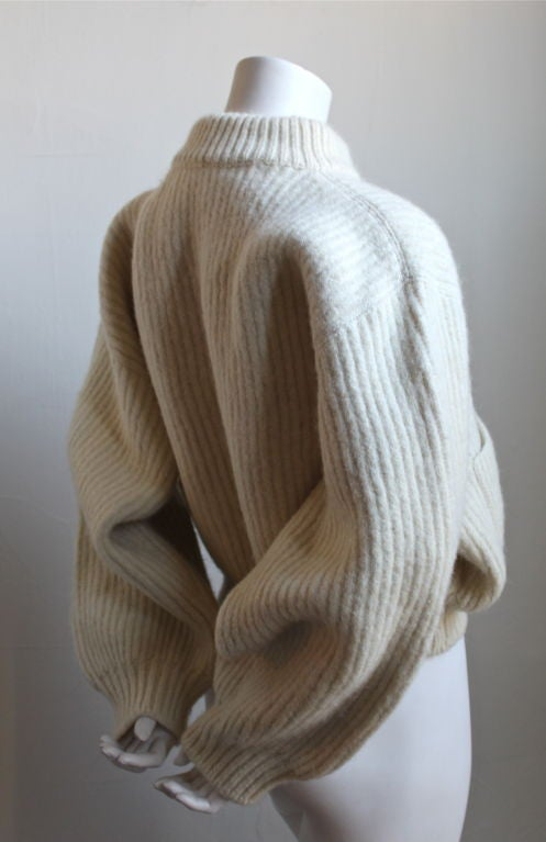 1980's AZZEDINE ALAIA cream cropped mohair sweater 2