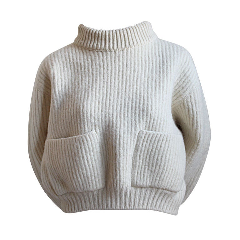 1980's AZZEDINE ALAIA cream cropped mohair sweater 1