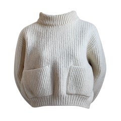 1980's AZZEDINE ALAIA cream cropped mohair sweater