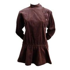 1980's KENZO chocolate brown corduroy jacket with peplum