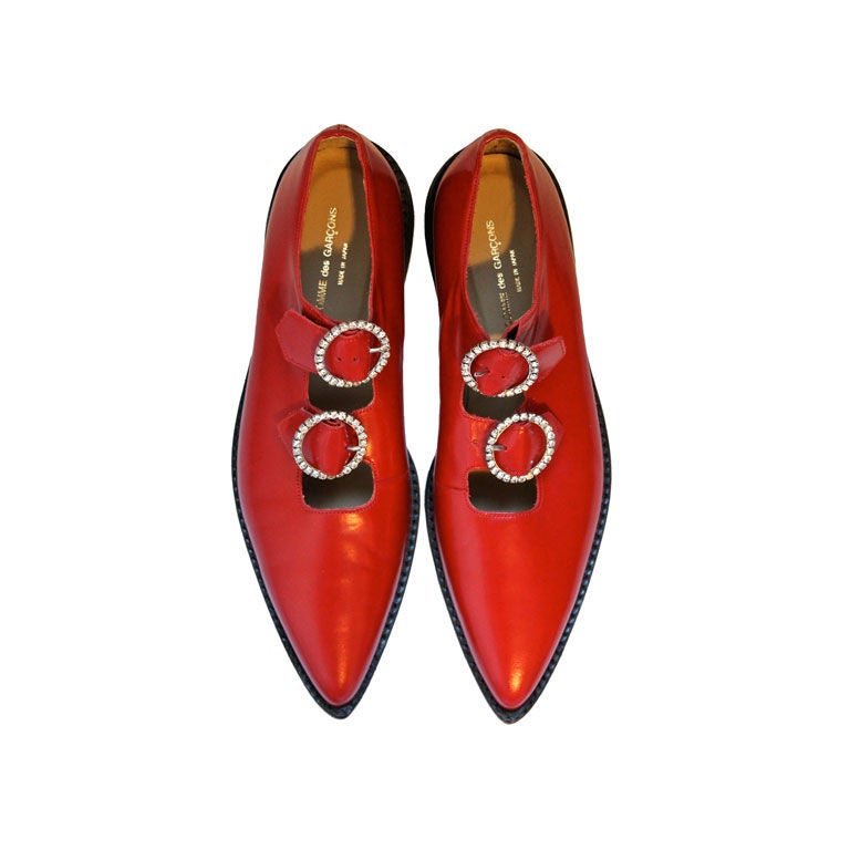 unworn COMME DES GARCONS red shoes with rhinestone buckles 1
