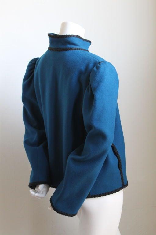 YVES SAINT LAURENT Russian style blue wool jacket 2