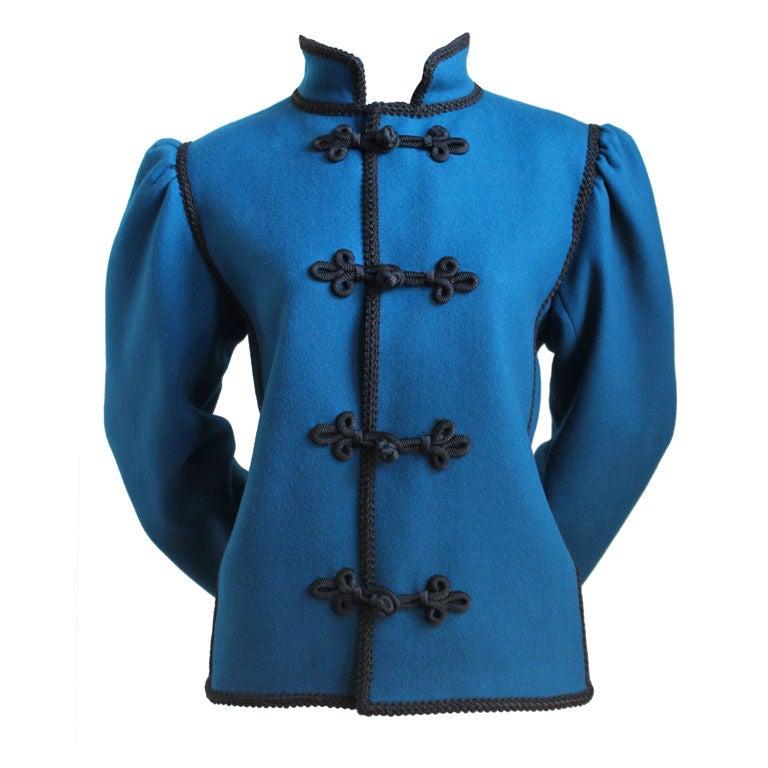 YVES SAINT LAURENT Russian style blue wool jacket 1