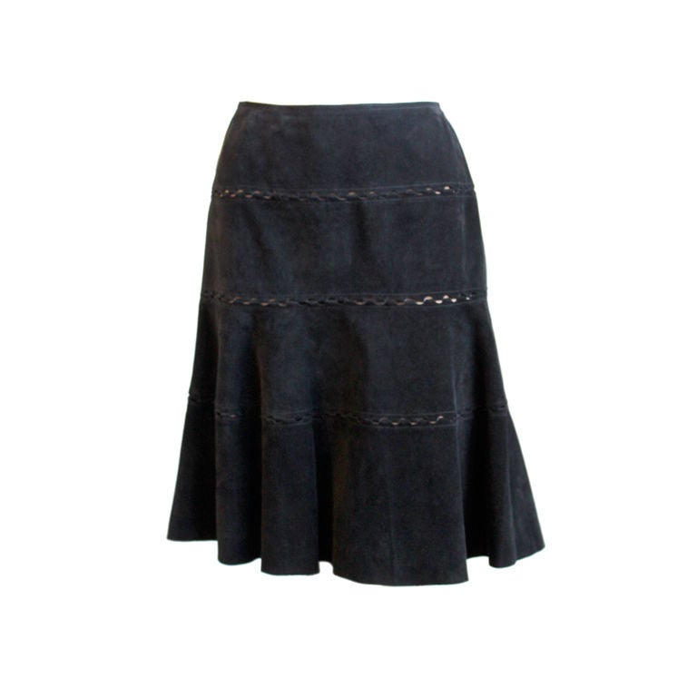 AZZEDINE ALAIA Black Suede Tiered Skirt At 1stdibs