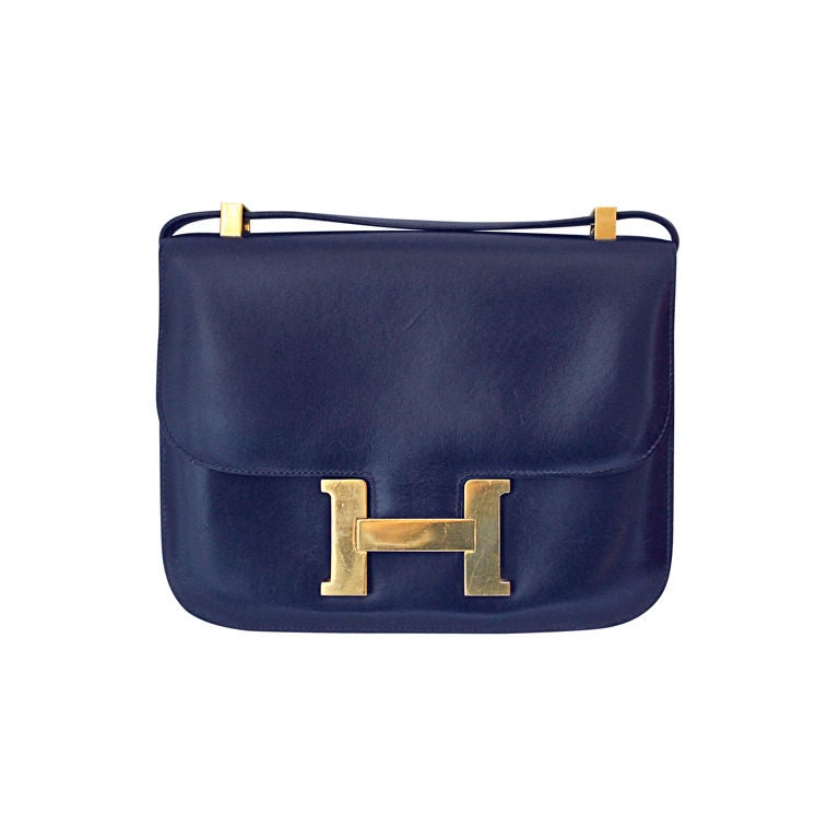 HERMES \u0026#39;Constance\u0026#39; 23 cm navy box leather bag - gold hardware at ...