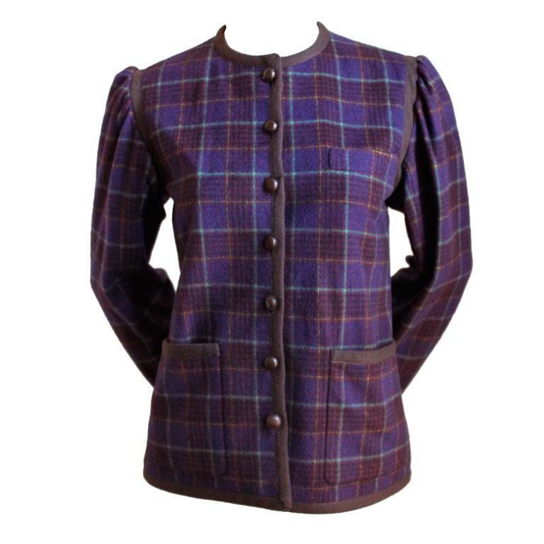 YVES SAINT LAURENT plaid jacket