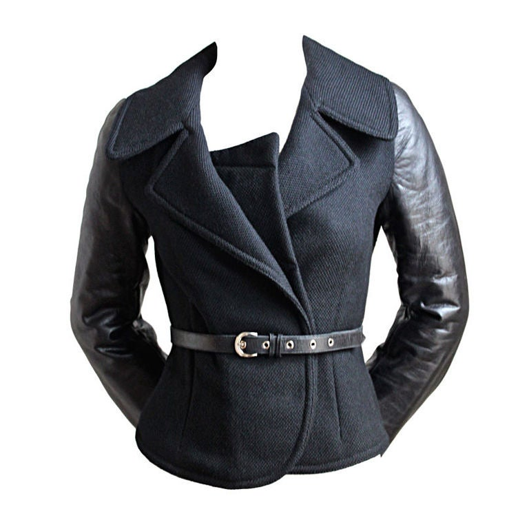 BALENCIAGA 2002 black coat with goat leather sleeves 1