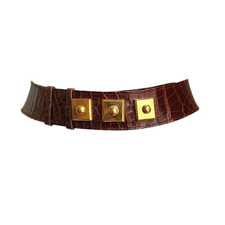 HERMES brown alligator leather belt with gilt hardware 1
