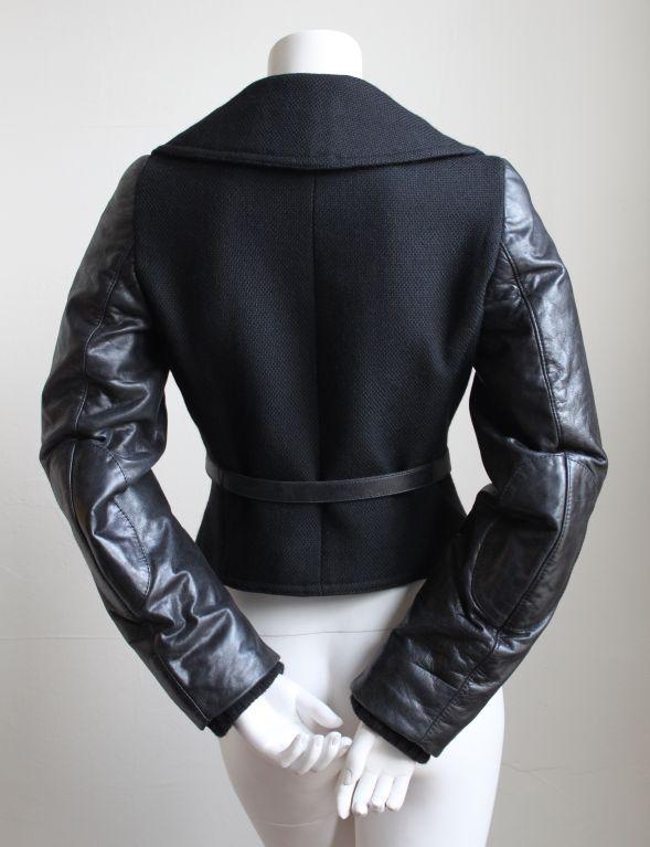 BALENCIAGA 2002 black coat with goat leather sleeves 2