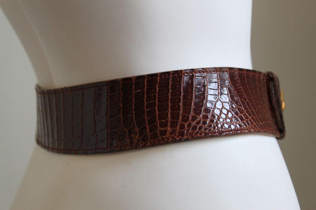 HERMES brown alligator leather belt with gilt hardware 2