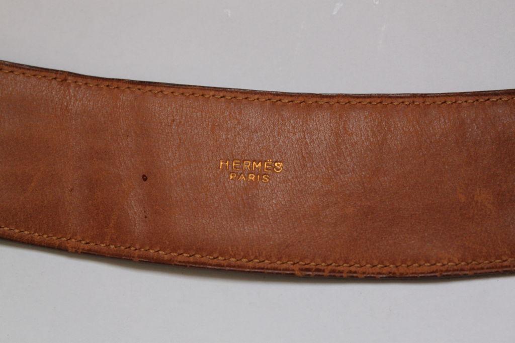 hermes brown alligator leather belt with gilt hardware for