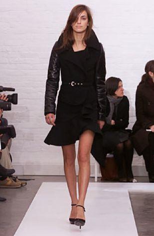 BALENCIAGA 2002 black coat with goat leather sleeves 4