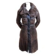 1970's EMANUEL UNGARO beaver fur coat with leather