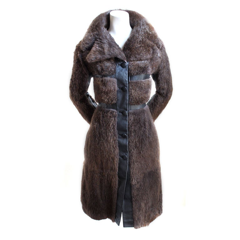 1970's EMANUEL UNGARO beaver fur coat with leather