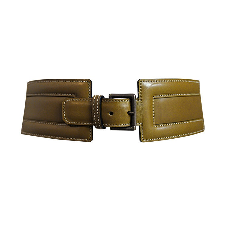 azzedine alaia chartruese leather belt with cut out at 1stdibs