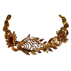 Goossens for Yves Saint Laurent fish necklace with Swarovski crystals