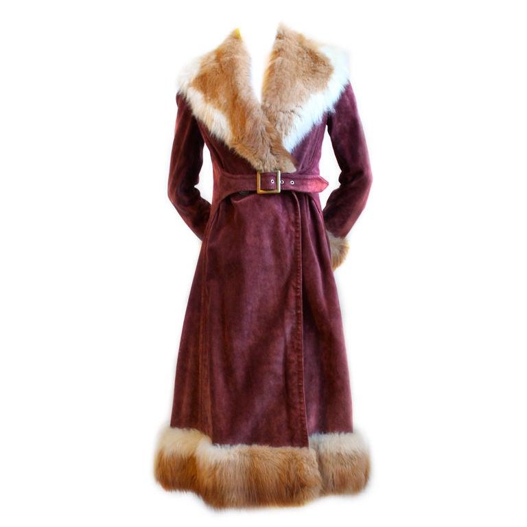 1970's GUCCI burgundy suede coat with fox fur trim 1