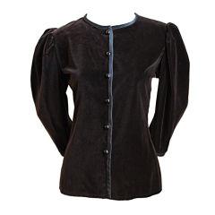 YVES SAINT LAURENT brown velvet jacket with black satin trim