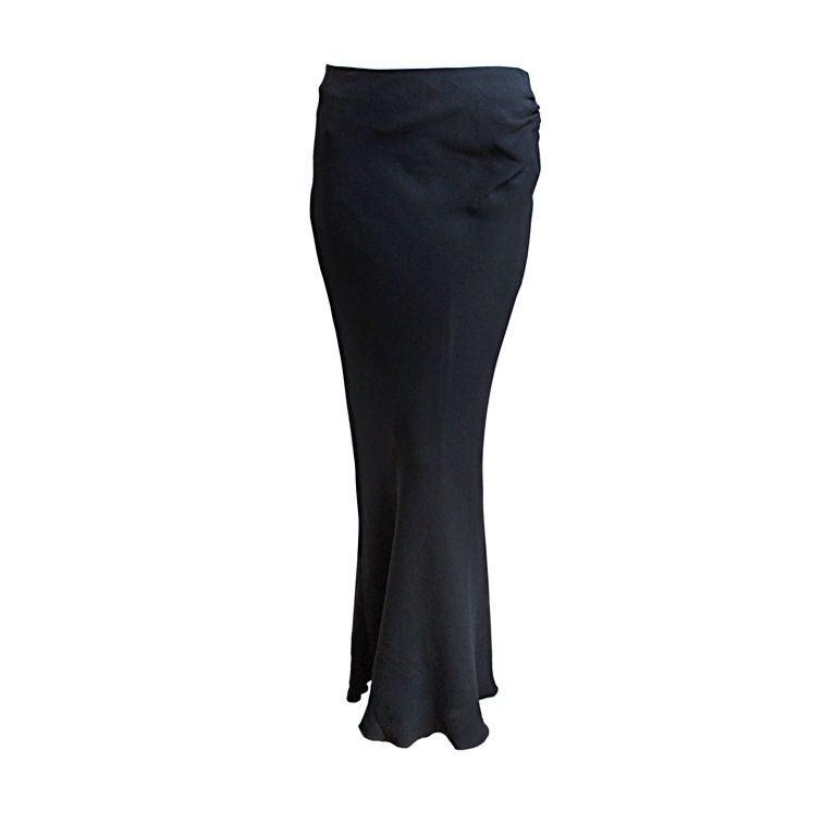 GUY LAROCHE black floor length bias cut skirt with ruched waist