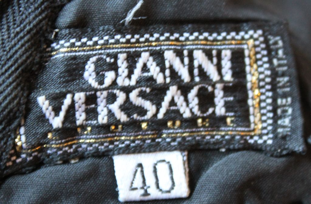 1990's GIANNI VERSACE COUTURE printed silk dress with lace trim 3