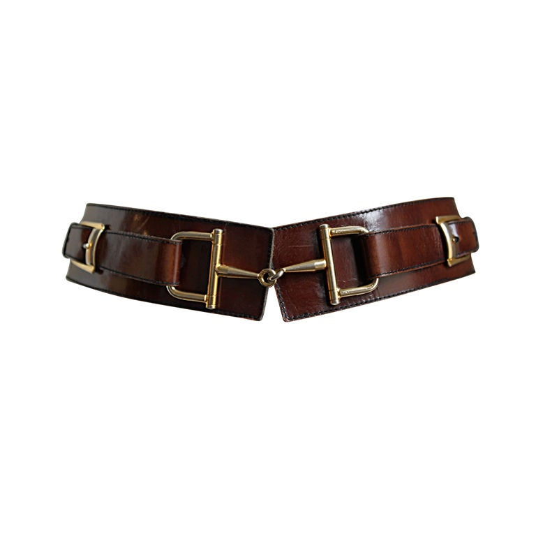 CELINE brown leather belt with gilt horse-bit hardware 1