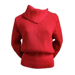 1980's AZZEDINE ALAIA red wool sweater with silver clips