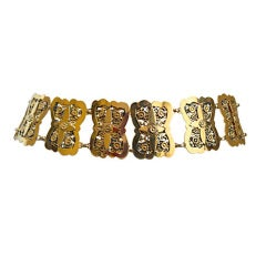 CHANEL filagree gilt metal belt