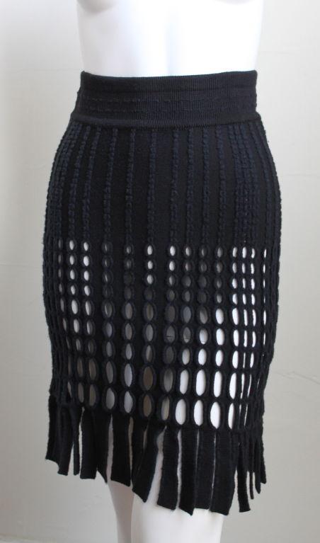 AZZEDINE ALAIA black wool fringed skirt 2