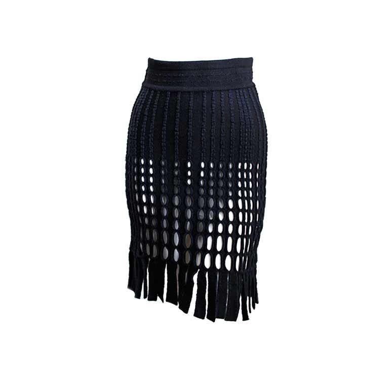 AZZEDINE ALAIA black wool fringed skirt 1