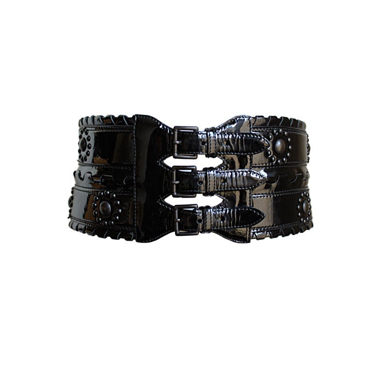 azzedine alaia black patent leather corset belt with studs