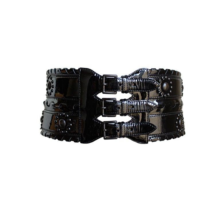AZZEDINE ALAIA black patent leather corset belt with studs 1