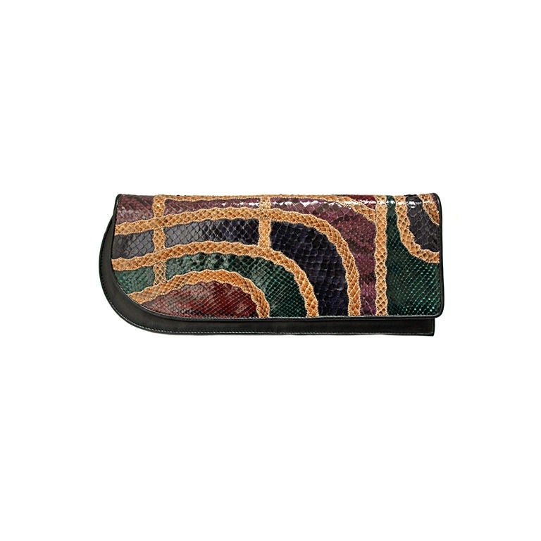 CARLOS FALCHI snakeskin patchwork clutch For Sale