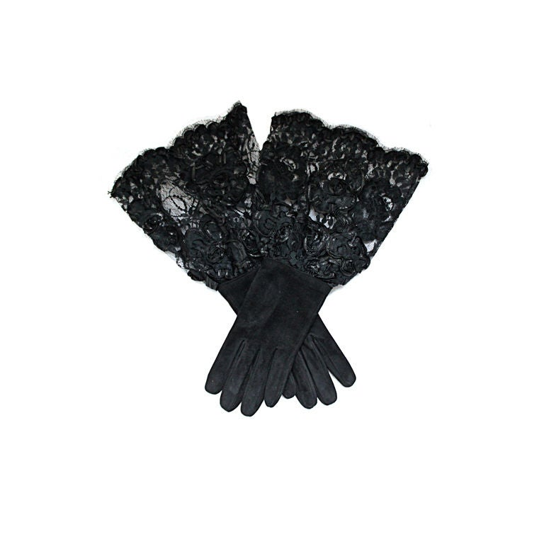 PRADA black suede gloves with lace cuffs 1