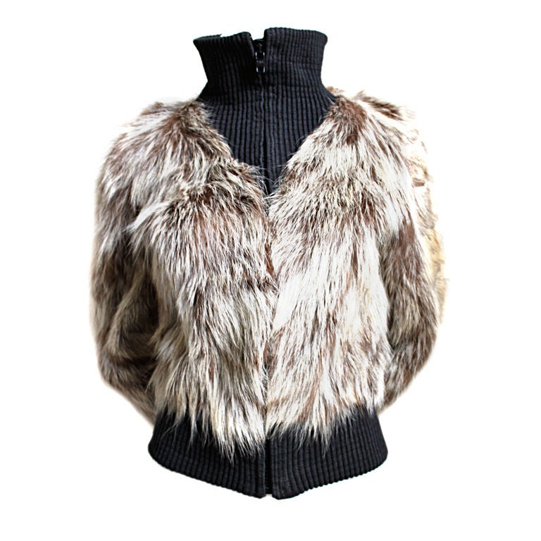 1970's PIERRE CARDIN coyote fur coat with ribbed wool trim
