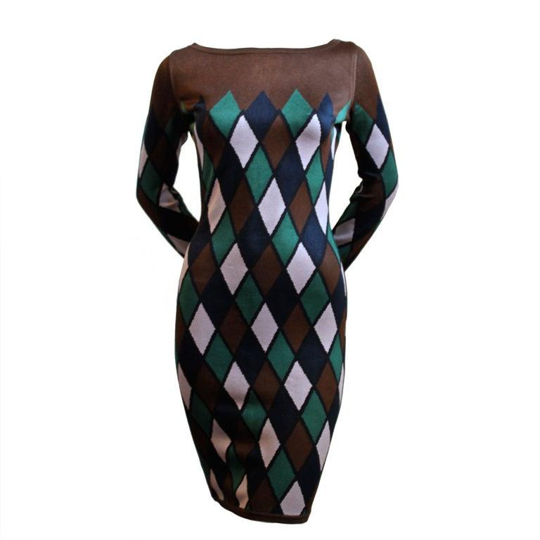 AZZEDINE ALAIA harlequin knit dress 1