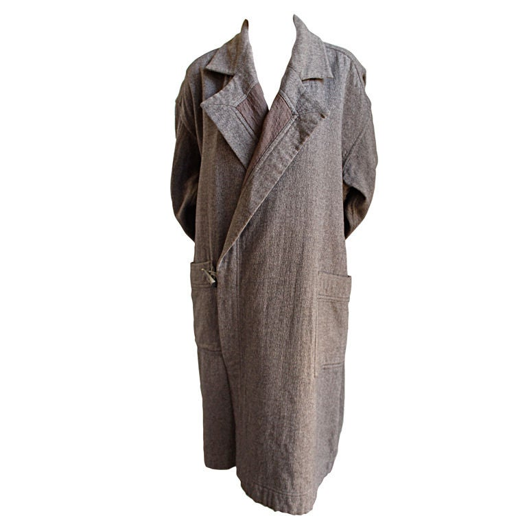 1980's ISSEY MIYAKE PLANTATION brown wool coat with horn button For Sale