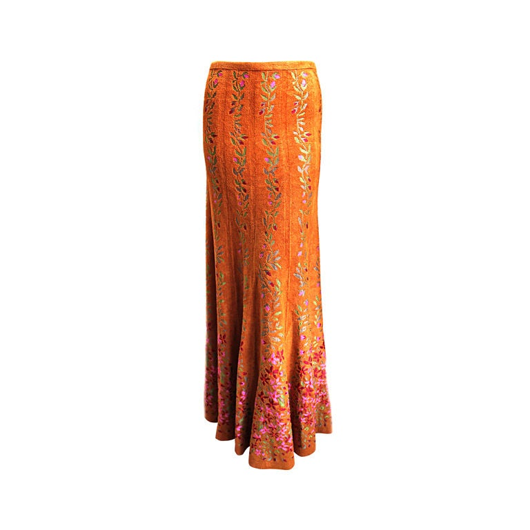 very rare 1990's AZZEDINE ALAIA long floral knit skirt 1