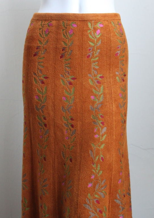 very rare 1990's AZZEDINE ALAIA long floral knit skirt 2